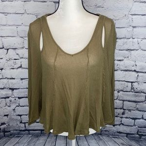 We The Free Free People Green Long Sleeve Top